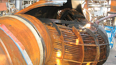 Ruptured heat exchanger (Courtesy of the U.S. Chemical Safety Board)